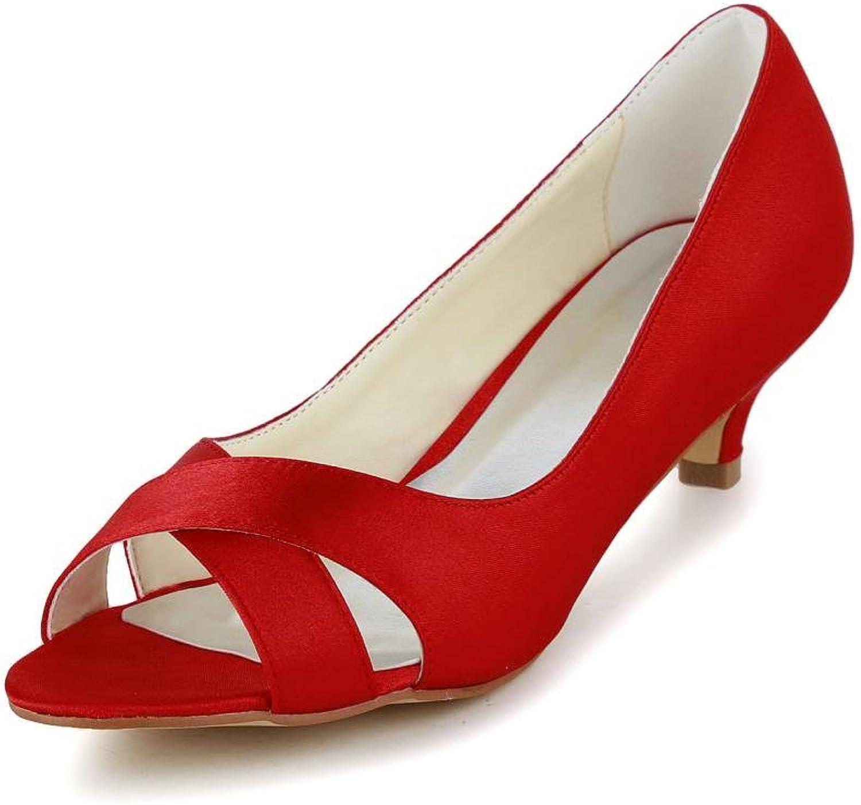 Jia Jia Women's Bridal 0118 Peep Toe Hight Heel Satin Wedding shoes