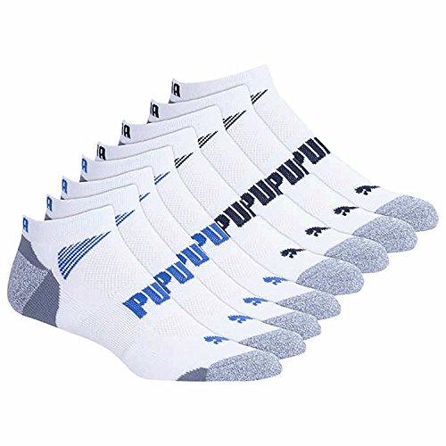 Puma Mens No Show Socks White 8 Pack