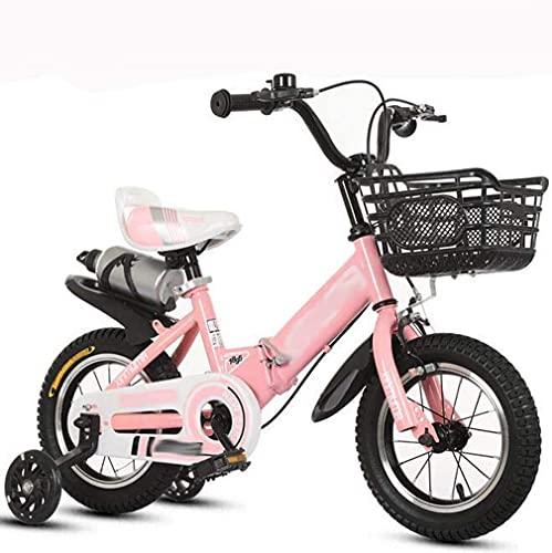 HUAQINEI Aleación de Aluminio Botella de Agua Plegable Bicicleta para niños Cochecito de 12-18 Pulgadas para niños y niñas, Rosa, 16 Pulgadas