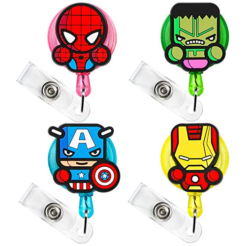 CY2SIDE 4PCS Superhero Retractable Badge Holder, Cartoon Retractable Badge Reel, Badge Reel Holder for Kids, Nurses, Name Badge Holders with Clip for Offices, Hero Badge Holder Reel Clip, 24 inch Cord