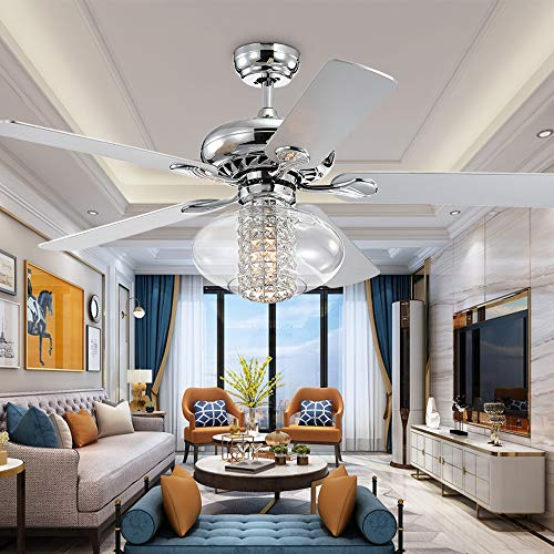 52' Crystal Fandelier Ceiling Fan with Light and Remote Control, Indoor 5 Blades Modern Ceiling Fan Light, Chrome