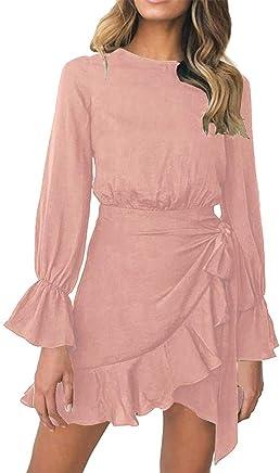 c8b6ad3b3f8 Fashion99 Sexy Womens Chiffon Solid Dress O-Neck Long Sleeved Loose Shirt  Dress