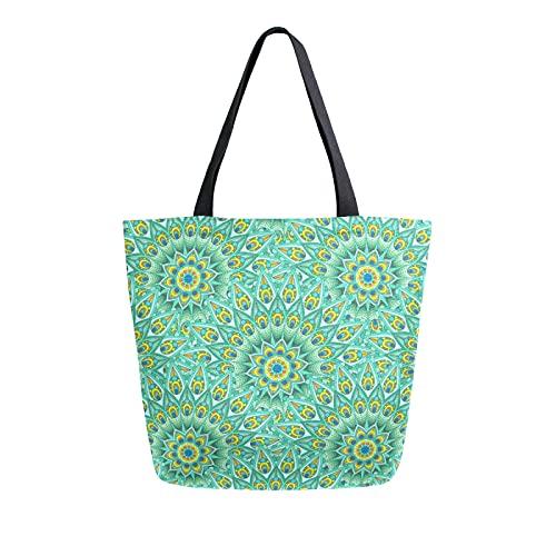 SunsetTrip - Bolsa de lona para mujer, diseño de mandala étnico tribal de pavo real, reutilizable, grande, bolsa de compras con bolsillo interior