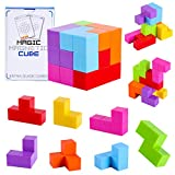 3D Magnetic Building Blocks Magic Magnetic Cubes, Set 7 Multi Shapes Magnetic Blocks 54 Guide Cards, Infinity Puzzle Cubes for Early Education, Intelligence Developing, Stress Relief (Nontransparent)