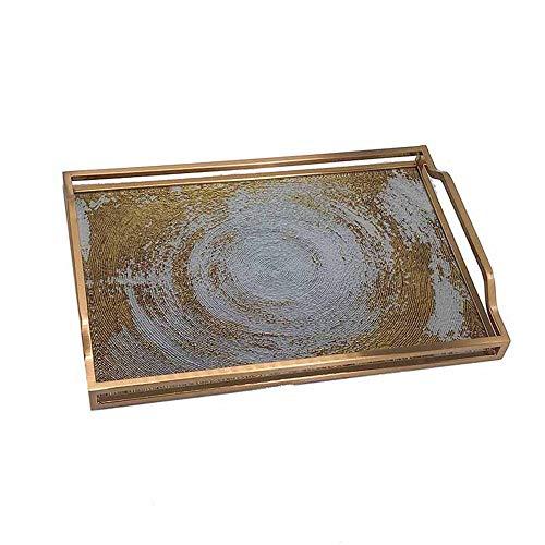 Ouqian Kosmetik-Tablett mit Kristallperlen Metall gehärtetes Glas Tablett Kaffee-Tee-Dinner Party großer Mittelplatz Rasierspiegel Tray Schmucktabletts Dekorative Tray (Farbe : A, Size : 38X25.5X3CM)