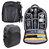 DURAGADGET 14 inch Padded Camera Rucksack Backpack Bag Case - Suitable for use with Canon EOS & PowerShot Range - Now with Rain Cover!