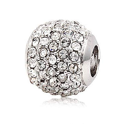 Andante-Stones Silber Pavé Bead Charm mit schneeweißen Kristallsteinen - Element Kugel für European Beads + Organzasäckchen