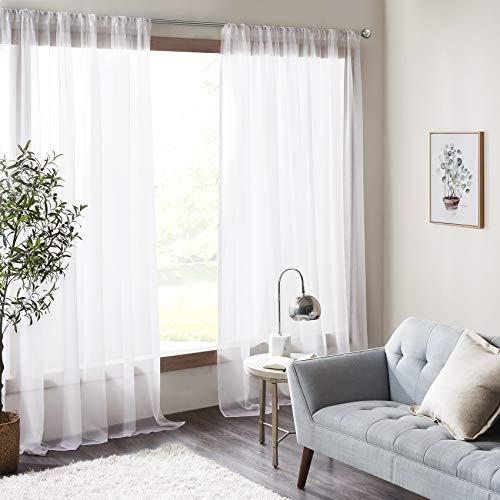Amari - Tenda per camera da letto, 2 pannelli, classica in voile, ultra velata, con tasca per asta, 140 x 245 l, colore: Panna