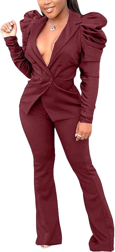 Women 2 Piece Blazer Outfits - Puff Long Sleeve V-Neck Top Bodycon Pants Elegant Business Suit Sets