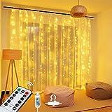 OMERIL Cortina LED con USB, Cortina de Luces, 8 Modos 2.4*1.8M 144 LED, Cadena de Luces Impermeable IP65 y Control Remoto Luces Navidad para Interior Exterior Decoración, Habitación, Fiestas, Árboles