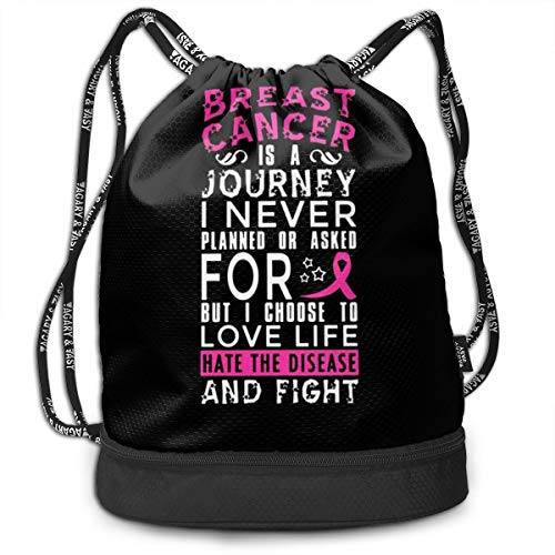 Drawstring Backpack With BREAST CANCER Print, String Bag Foldable Sackpack For Gym Sport Traveling Yoga School