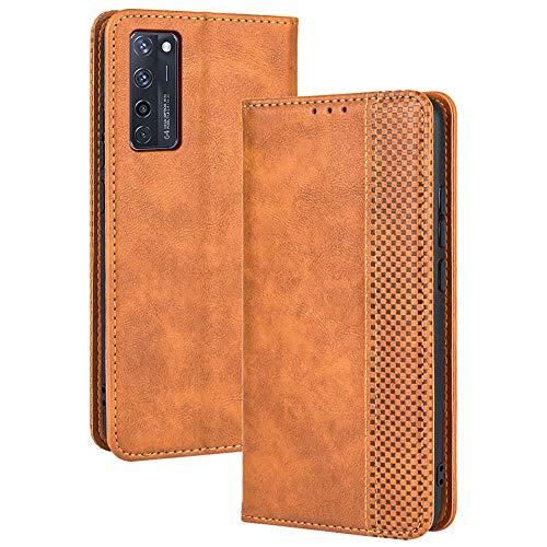 TANYO Leder Folio Hülle für ZTE Axon 20, Premium Flip Wallet Tasche mit Kartensteckplätzen, PU/TPU Lederhülle Handyhülle Schutzhülle - Braun