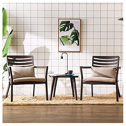 H-ei Silla de Ocio marrón Sofá Lazy Silla de Moda Creativa Balcón Oficina Jardín Patio One Table Dos Sillas 66 × 70.5cm