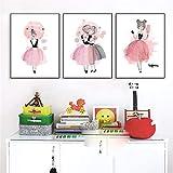 Lienzo nórdico pintura arte pared dibujos animados vestido rosa niña carteles e imágenes para sala de estar dormitorio de niña decoración del hogar