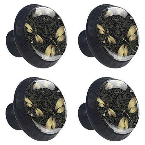 Anmarco Black Golden Vintage Dragonfly Drawer Knobs Pull Handles 30MM 4 Pcs Glass Cabinet Drawer Pulls for Home Kitchen Cupboard
