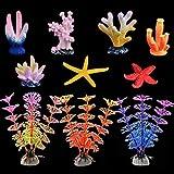 Coral Artificial Acuario, de Coral Brillante y acuáticas Plantas para peceras Decoraciones Adornos para acuarios Paquete de 10