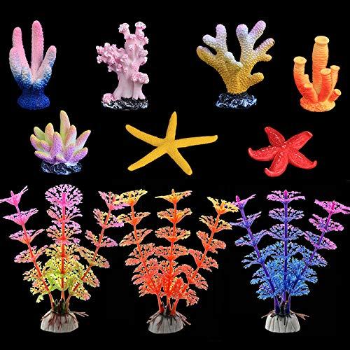 Künstliche Koralle Deko Aquarium, leuchtende Korallen- und Wasserpflanzen Aquarium Pflanzen Dekorationen Aquarium Ornamente Packung mit 10 Stück