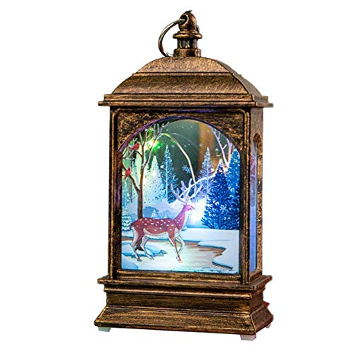 Quyi Beleuchtete Weihnachts-Schneekugel-Laterne, Weihnachtsdekoration, leuchtendes Nachtlicht, Kupferdraht, Lampe, Bronze, Elch