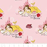 Disney Beauty and The Beast Fabric Belle Lost in a Book in Light Pink from 100% Cotton Sold by 1/2 of a Yard.