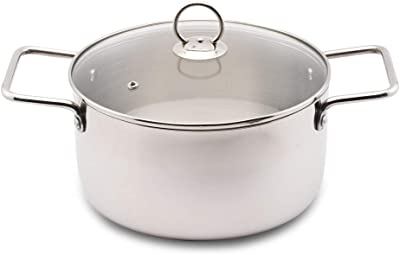 Blueberry's BSK 22 Stainless Steel Silver colour Stock Pot with 3 ply Base Sandwich Bottom, Glass Lid, Induction Base (22 cm)