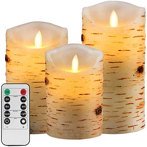 Aku Tonpa Birch Bark Effect Flameless Candles Battery Operated Pillar Real Wax Flickering Electric LED Candle Sets with Remote Control Cycling 24 Hours Timer, 4' 5' 6' Pack of 3