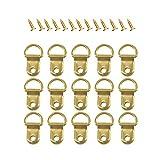 Ganci ad anello a D, 50 pezzi di alta qualità, resistenti ganci per foto con viti, per decorazione creativa della casa (dorato)