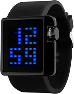 LED Digital Display Big Dial Waterproof Wrist Watch with Silicone Strap for Men, Women and Teens
