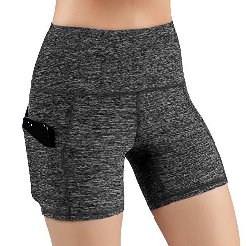 ODODOS High Waist Out Pocket Yoga Short Tummy Control Workout Running Athletic Non See-Through Yoga Shorts,CharcoalHeather,Small