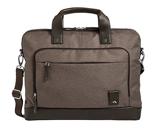 Brenthaven Medina Slim Brief Laptop Bag Fits 15 Inch Chromebooks, Devices - Chestnut, Cotton Canvas Body Material with Vegan Leather Trim, Rugged Protection from Impact and Compression