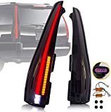 YUANZHENG Full LED Tail Lights Assembly for [GMC Yukon, Chevrolet Tahoe Suburban 3rd Gen SUV 2007-2014 (NO Need Bulbs)] Rear Tail Lamps with Amber Turn Signal, YAB-KLD-0156B (Smoked)