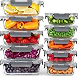 Glass Meal Prep Containers, [10 Pack] Glass Food Storage Containers with Lids, Airtight