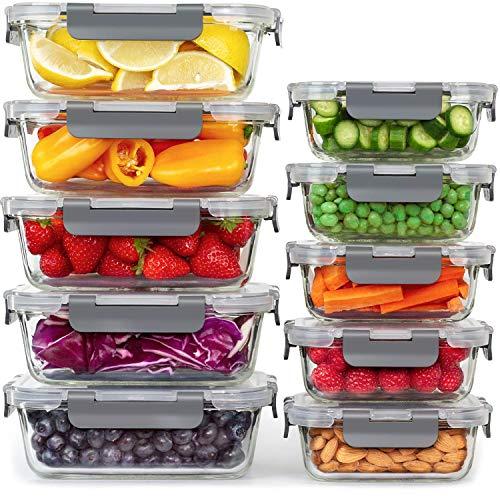 Aufbewahrungsbox Glas Lebensmittel - [10er Pack] Lunchboxen für Gesunde Mahlzeiten mit Luftdichten Deckeln - Luftdichte Glas Vorratsdosen, Brotdosen BPA-frei Auslaufsicher (10 Deckel & 10 Behälter)
