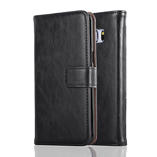 Preisvergleich Produktbild Cadorabo Hülle für Samsung Galaxy S6 Edge in Graphit SCHWARZ Handyhülle mit Magnetverschluss,  Standfunktion und Kartenfach Case Cover Schutzhülle Etui Tasche Book Klapp Style