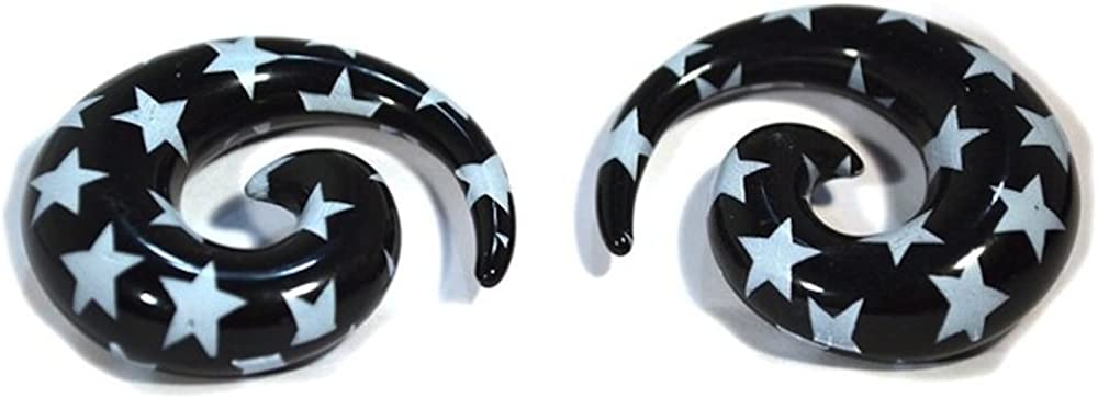 Black Spiral with Stars Tapers 2 Straight Pieces Acrylic Financial sales At the price of surprise sale Hangers
