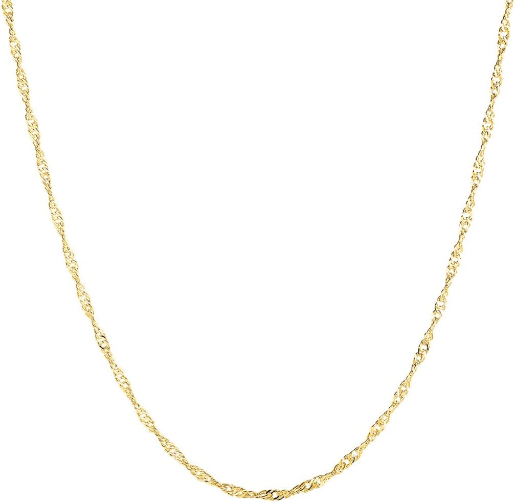 Goldenchen Fashion Gold Plated 1.5mm 18Inch Wave Chain Necklace Jewelry (Gold)