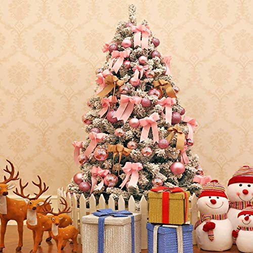 6.8FT Pre-lighted Artificial Christmas Tree Premium Flocked Snow Christmas with Zipper Christmas Decorations with Led Lights and Ornaments Christmas Decorations 900 Branch Tips