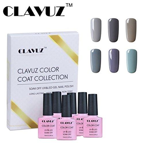 Vernis à Ongles Semi-Permanent Vernis Gris, 6pcs Kit de Manucure,Nail Art 10ml Gift Set de Clavuz-set010