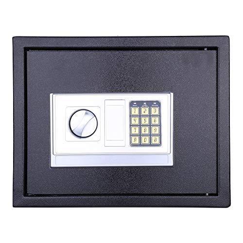 Digital Safe Aufbewahrungsbox mit Sicherheitsschloss zum Schutz von Geld Bargeld Münzen Schmuck Schlüssel Bargeld für das Home Office Hotel, 30 × 38 × 30 cm Schwarz (XL)