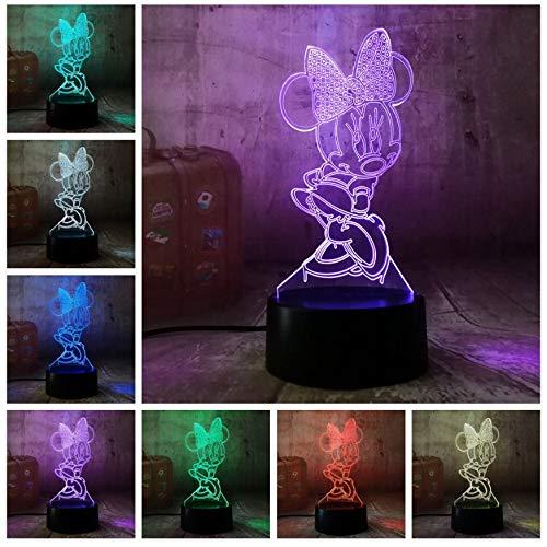 Nachtlichtkarikatur Minnie Illusionslampe der Kinder 3D führte Farbnotenfernusb-Stimmungslampe der tischlampe 7 für Kinderkindergeburtstag Weihnachtsgeschenk-Neuheitdekoration
