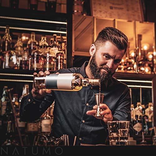 NATUMO ® Cocktail Shaker Set Edelstahl - 10 teiliges Cocktailshaker Set, Cobbler Shaker, Doppel-Messbecher, Stößel, Dosierer, Löffel, Strohhalme - 9