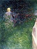 Tapisserie Haie en rose musquée, peinture à l'huile, Carl Larsen Salon Chambre tissu de décoration murale Tapestry Couvre lit, 1 pièce 130×150cm