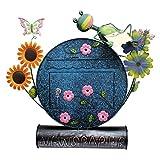 Briefkasten Frosch Postkasten Metall bemalt,Wandbriefkasten Tiermotiv mit Zeitungsrolle A4 Einwurfformat Frosch Blumen - Gall&Zick
