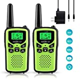 Professional Rechargeable Walkie Talkies,MOICO Long Range Two Way Radios for Adults up to 5 Miles in Open Area,Handheld Talkies Talky with 22 Channels FRS/GMRS VOX Scan LED Flashlight Green