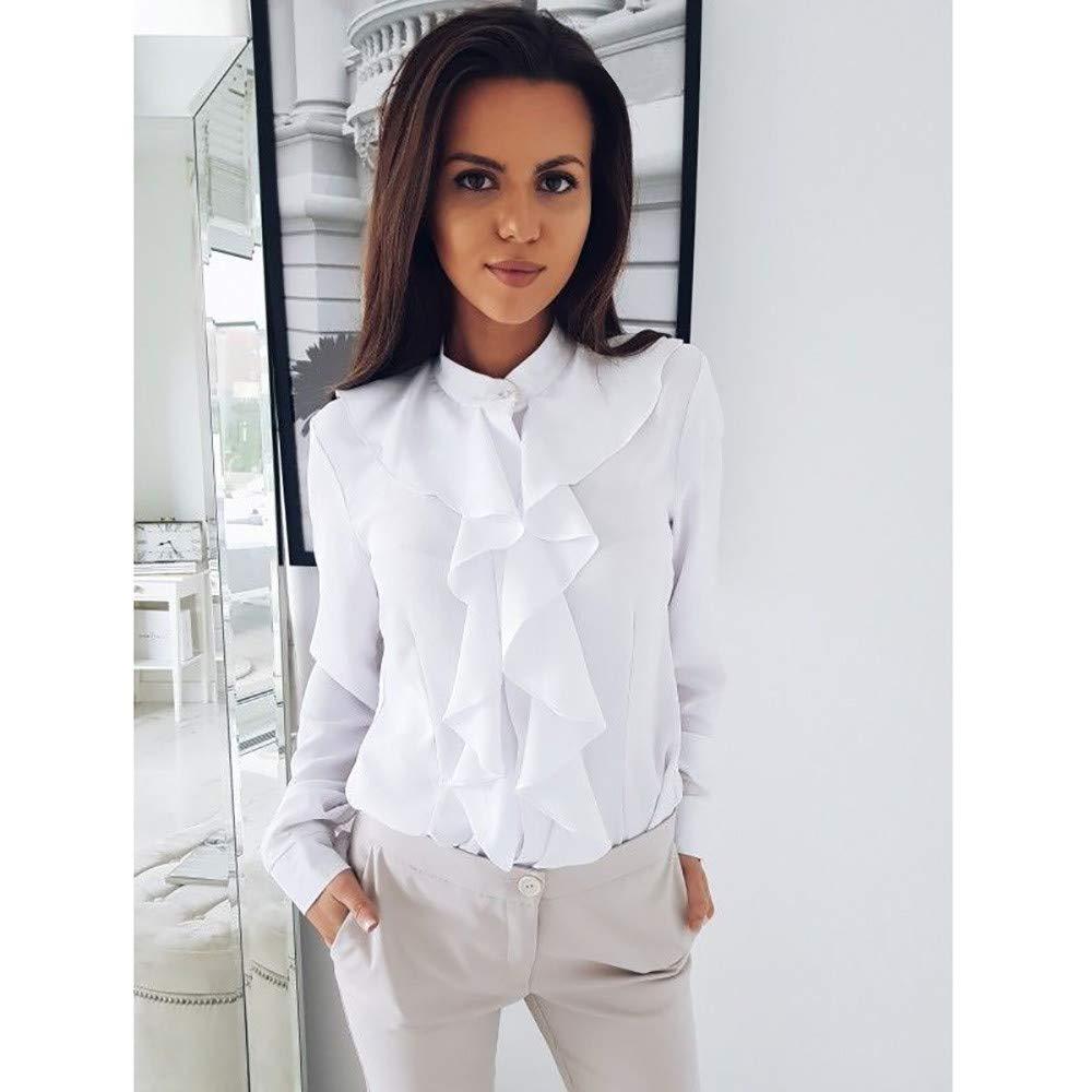 Women Ruffles Frill Office OL Formal Shirt Long Sleeve Blouse Ladies Casual Tops