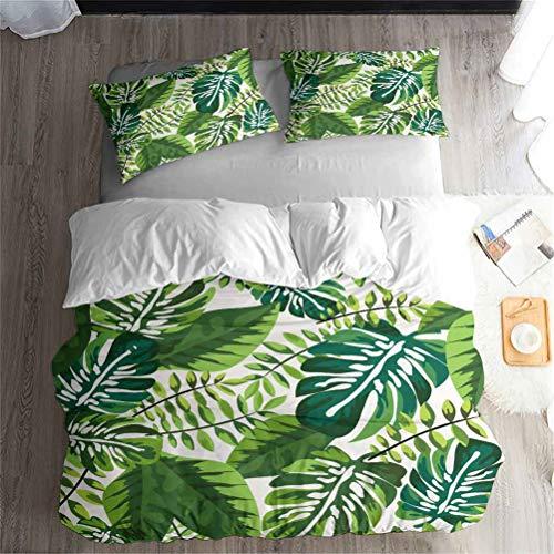 LanS Palmblatt Tropische Früchte Bettbezug Bettwäsche Set - Bettbezug und Kissenbezug, dreiteiliger Bettwäsche (Bettbezug + 2 Kissenbezüge) Single Doppel Bettbezug (C,Single-135x210cm)