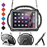 BMOUO Kids Case for New iPad 9.7 inch 2017/2018 - Shoulder Strap Shockproof Protective Handle Kickstand Case Cover for iPad 9.7 inch 2017 2018 / iPad Air/iPad Air 2 - Black