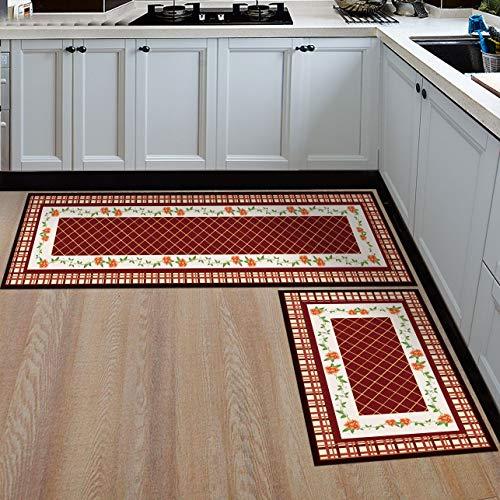 HLXX Alfombrillas geométricas Antideslizantes para baño, Dormitorio, alfombras de Noche, Alfombrillas para el Suelo, alfombras para Cocina, Alfombrillas para Puertas A11 40x60cm + 40x120cm