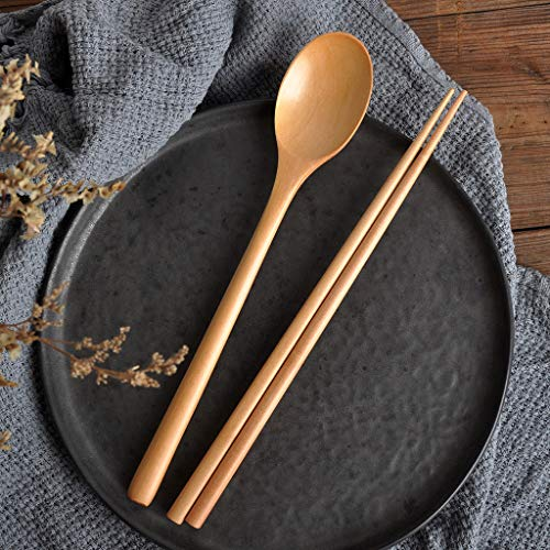 Shirt Luv Wooden Spoon Chopsticks Set Korean Wood Soup for Eating Mixing Strring Handle Kitchen Dining Bar Accessories