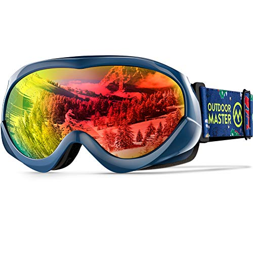 OutdoorMaster Kids Ski Goggles - Helmet Compatible Snow Goggles for Boys & Girls with 100% UV Protection - VLT 14.3%