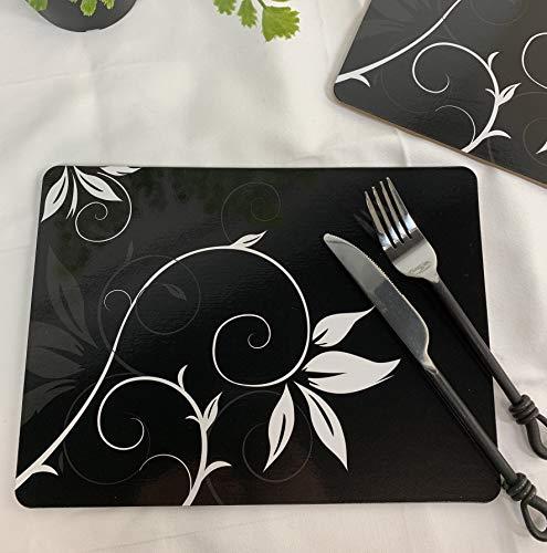 Juego de 6 manteles individuales de corcho negro Vivienne con respaldo de corcho floral y tapetes protectores de cocina para decoración, revestimiento resistente al calor y base de corcho